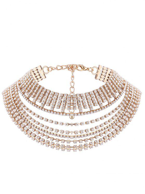 sale Multilayered Rhinestone Chokers Necklace - GOLDEN