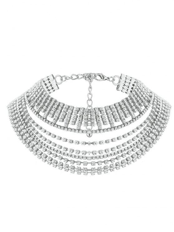 affordable Multilayered Rhinestone Chokers Necklace - SILVER