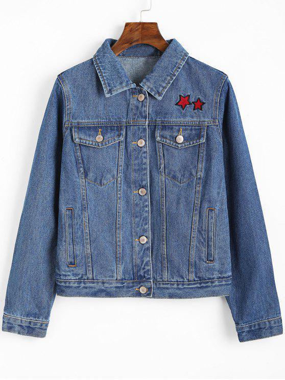 womens Button Up Star Embroidered Denim Jacket - DENIM BLUE L