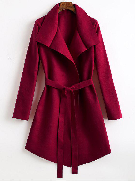 ladies Belted Asymmetrical Wool Blend Coat - WINE RED S