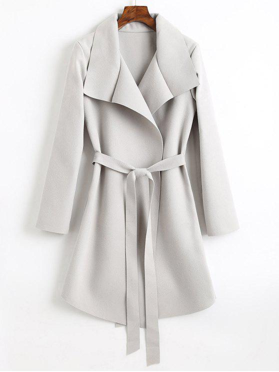 ladies Belted Asymmetrical Wool Blend Coat - LIGHT GRAY S