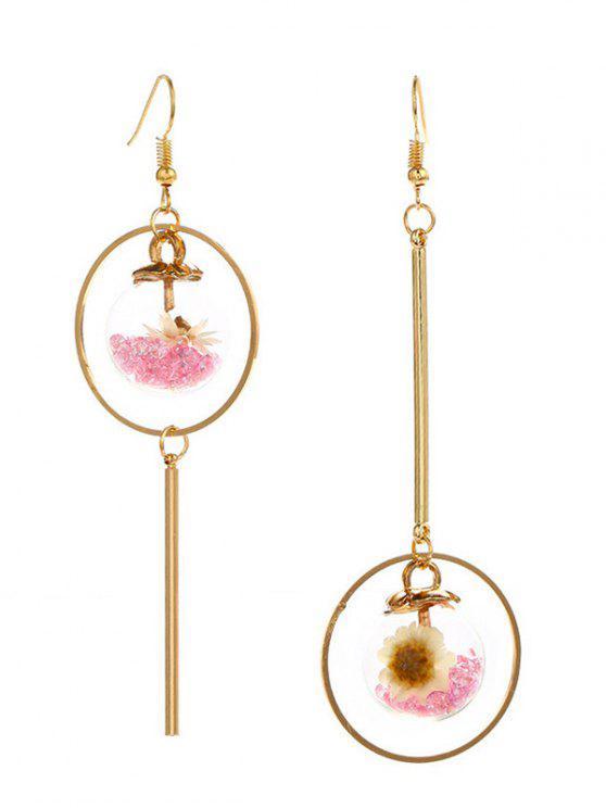 Orecchini del cerchio del fiore di vetro asimmetrico - Rosa