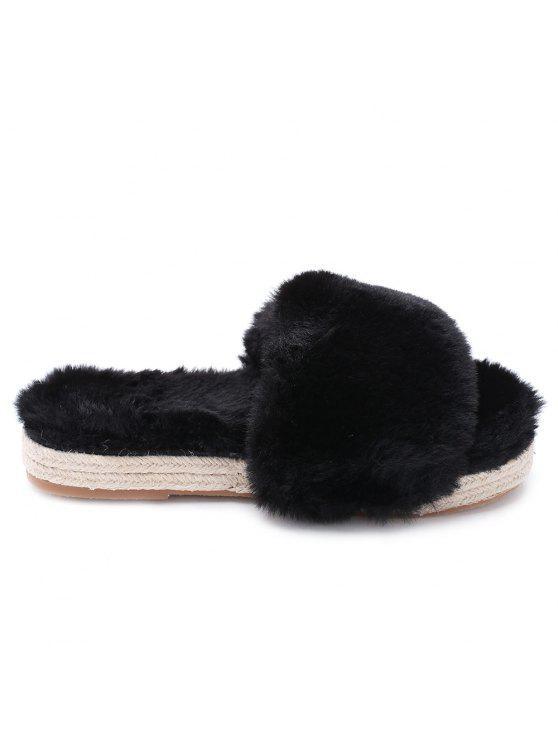 fancy Espadrille Sole Indoor Faux Fur Strap Slippers - BLACK 36