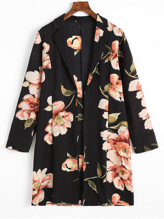 sale Longline Floral Open Front Blouse - FLORAL S