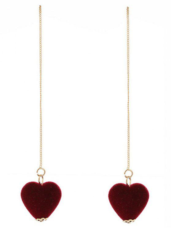Brincos de corrente de coração de veludo - Vinho vermelho