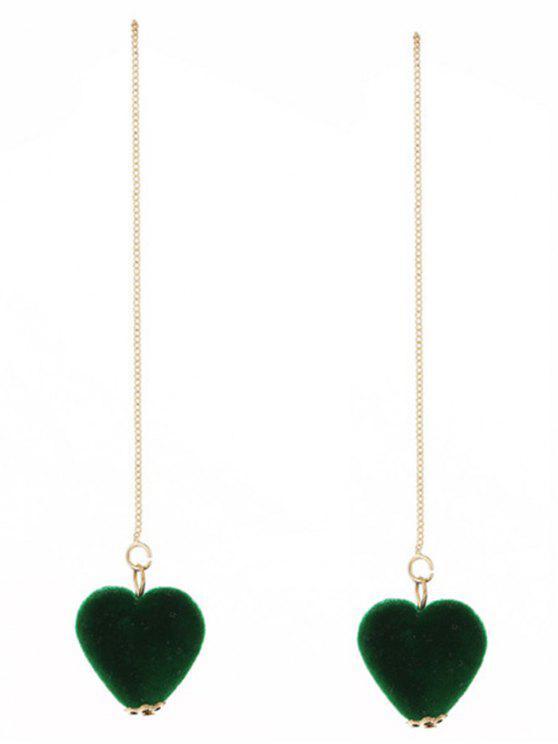 Brincos de corrente de coração de veludo - Verde