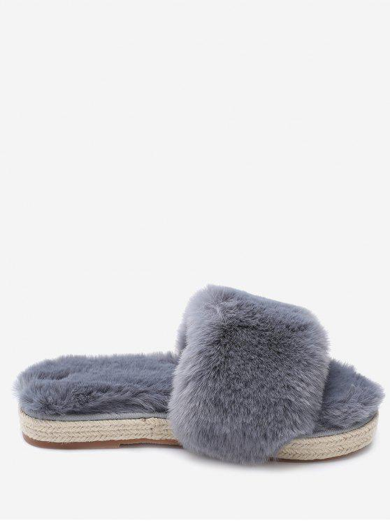 shop Espadrille Sole Indoor Faux Fur Strap Slippers - GRAY 35