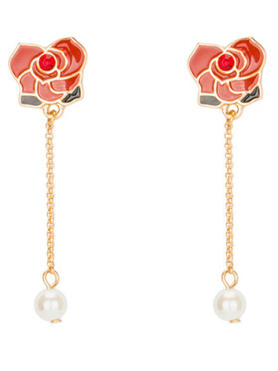 shops Rhinestone Faux Pearl Flower Chain Earrings - RED