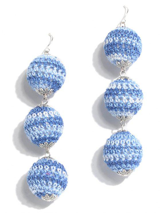 fancy Bohemian Braid Ball Earrings - BLUE