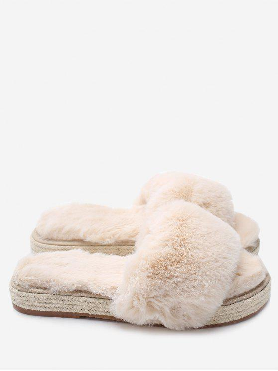 women's Espadrille Sole Indoor Faux Fur Strap Slippers - APRICOT 38