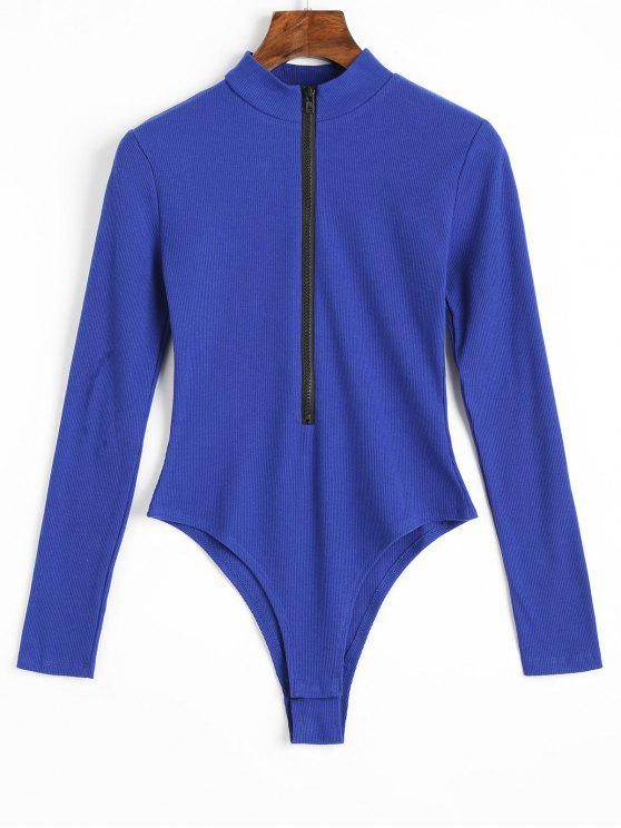 ladies Knitted Long Sleeve Front Zip Bodysuit - BLUE L
