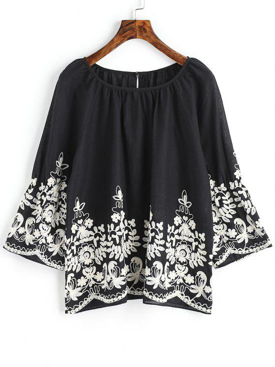 new Raglan Sleeve Floral Embroidered Blouse - BLACK 2XL