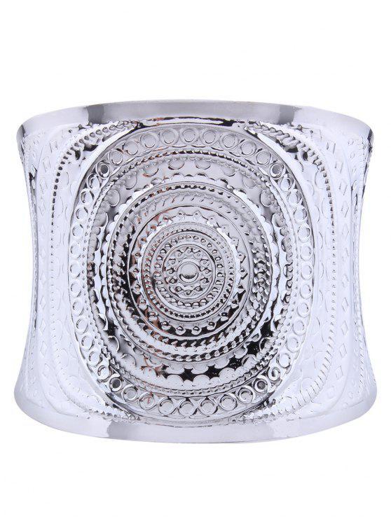 Spiralmuster Metall Manschette Armband - Silber