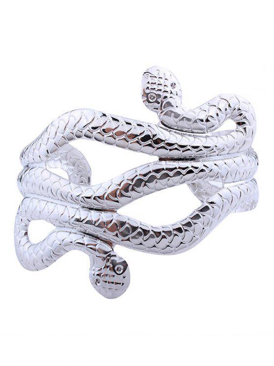 Schlange Form mehrschichtige Manschette Armbänder - Silber