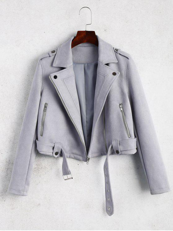 affordable Belted Cropped Faux Suede Jacket - GRAY L