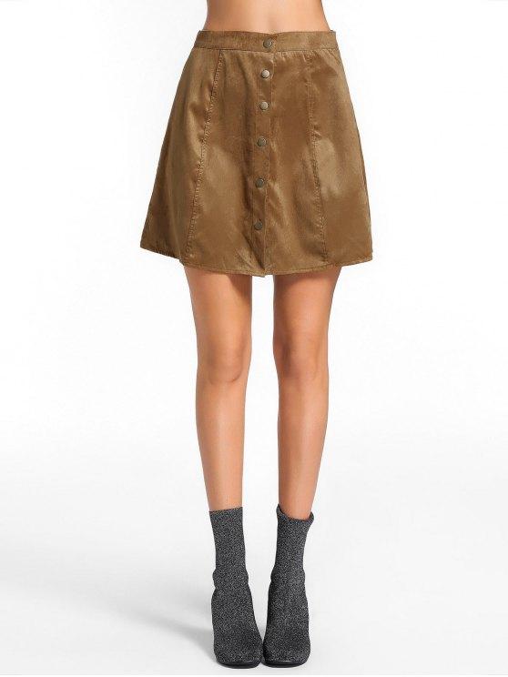 d3c4e9d6f826 22% OFF] 2019 High Waist Button Up Mini Skirt In BROWN | ZAFUL