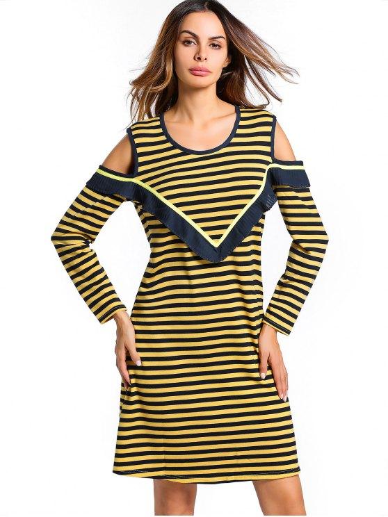 فستان مخطط باردة الكتف الرقبة U - الأصفر XL