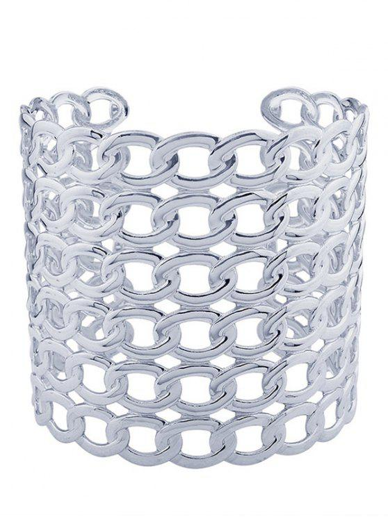 fashion Hollow Out Lock Pattern Metal Cuff Bracelets - SILVER