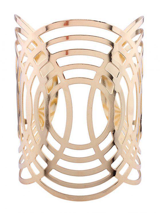 Aushöhlen Runde Muster Manschette Armbänder - Golden