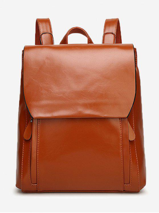 women Stitching Faux Leather Backpack With Handle - BROWN