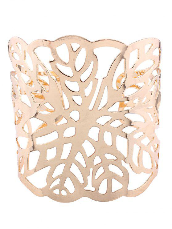 Hollow Out Leaf Cuff Bracelets - Dorado