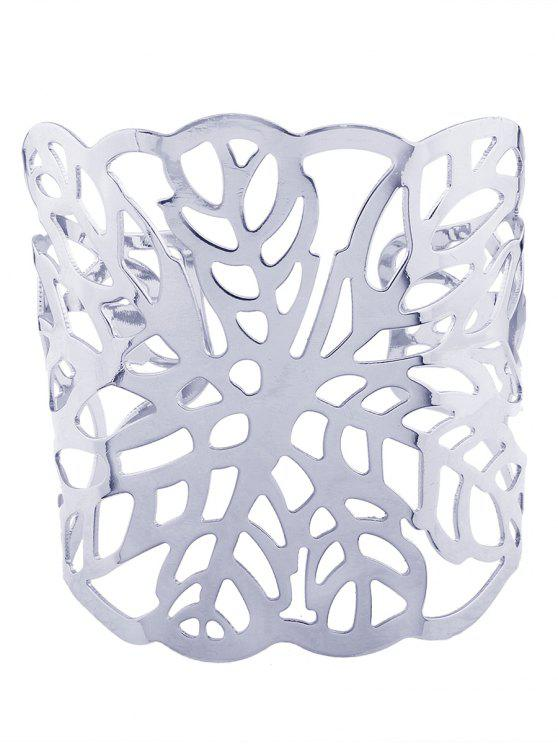 Hollow Out Leaf Cuff Bracelets - Plata