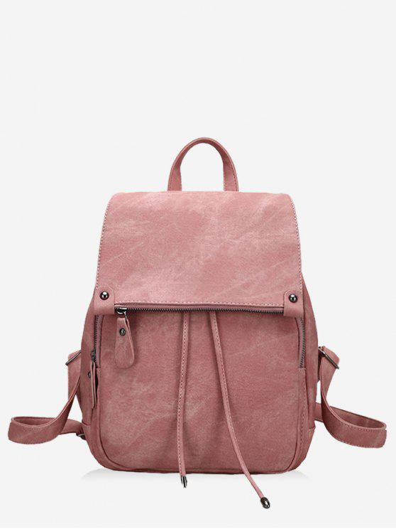 trendy PU Leather Multi Function Backpack With Handle - PINK