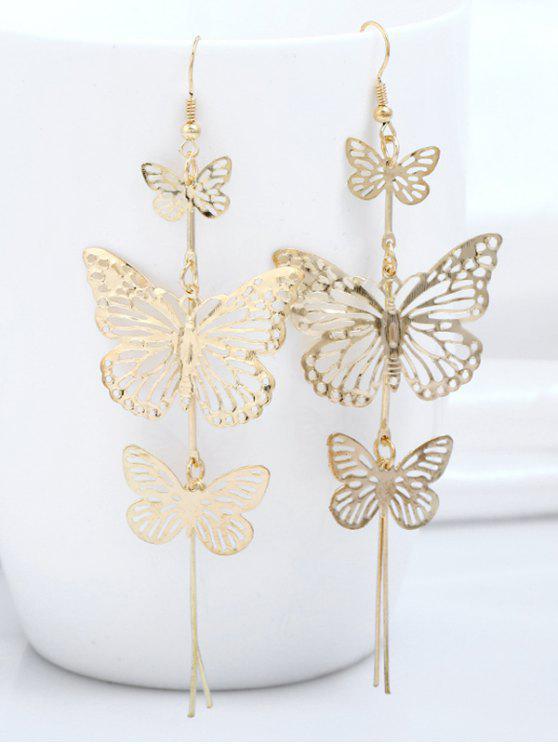 Orecchini Pendenti A Farfalla In Lega A Strati - Oro
