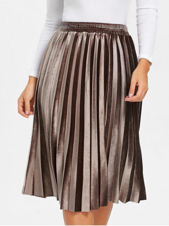 women High Waisted Velvet Midi Pleated Skirt - BROWN S