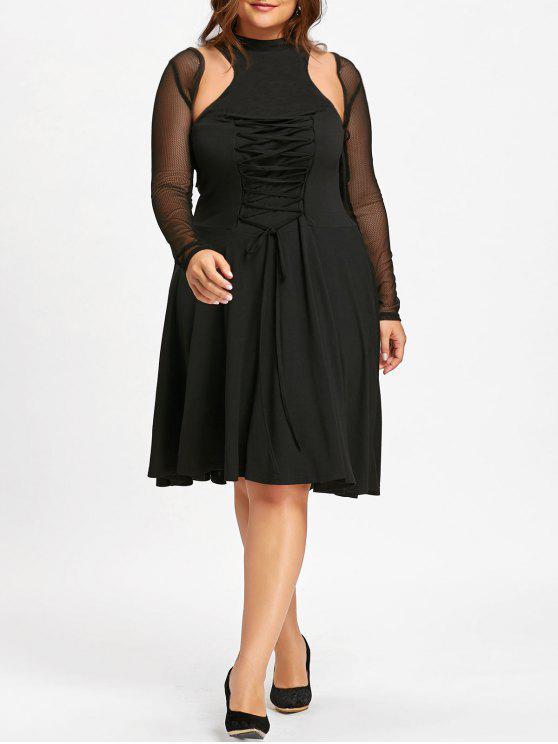 Robe Vintage Découpée à Lacets Grande Taille - Noir 4XL