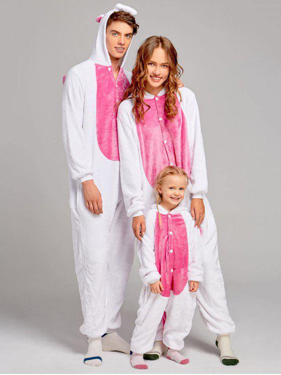 بيجامات عائلية من الصوف على شكل يونيكورن - الوردي العميق كيد 140