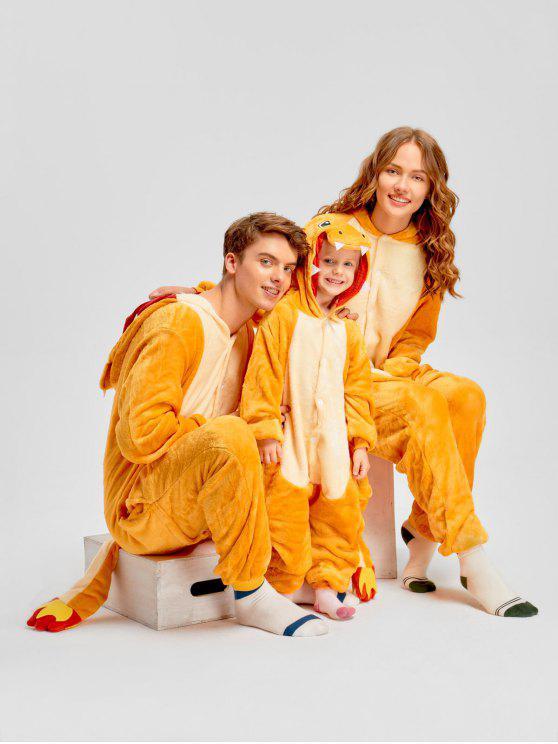 بيجامة عائلية على شكل تنين ناري - الأصفر أمي زل