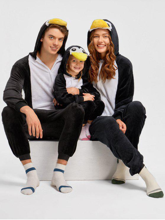 بيجامة عائلية على شكل حيوان البطريق - أسود أبي S