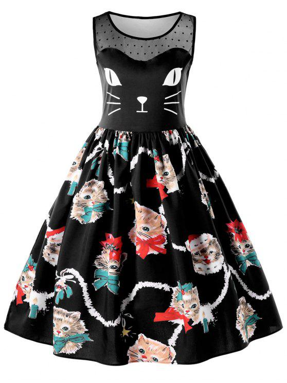 cfc3c4cfb 2019 Kitten Print Sleeveless Swing Dress In BLACK L | ZAFUL
