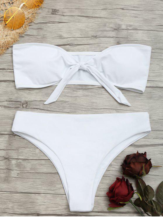Bikini A Fascia Con Nodo Frontale - Bianca S