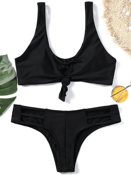 womens Knotted Plunging Neck Cut Out Bikini Set - BLACK S