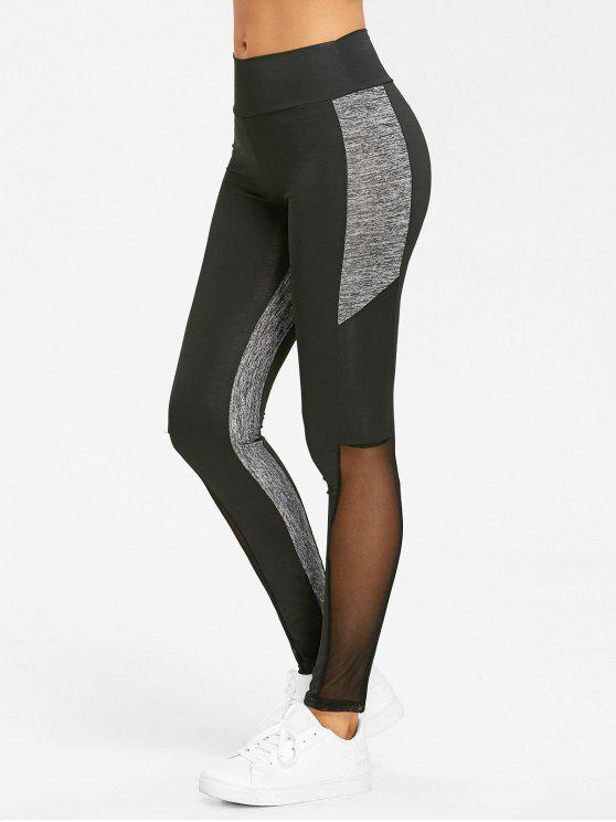 Heather Mesh Panel Leggings de cintura alta de ioga - Preto XL