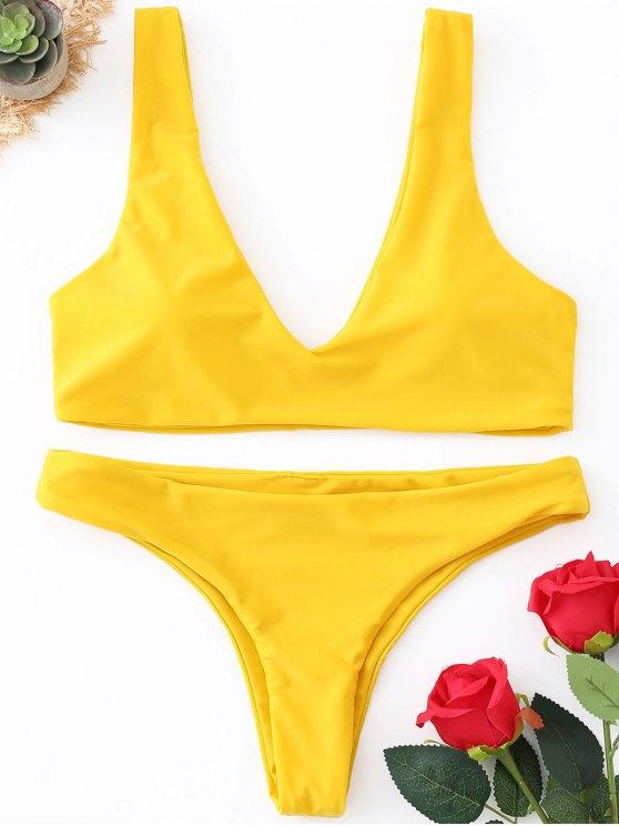 fashion Pads Thong Bikini Set - YELLOW S