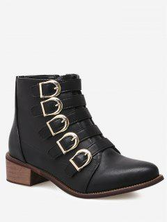 D-buckled Embellished Ankle Boots - Black 39