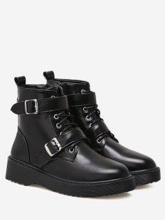 Buckle Strap Faux Leather Boots - Black 36