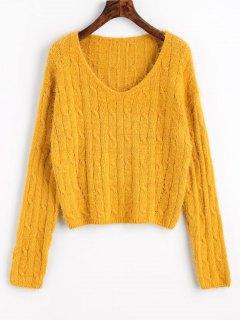 Suéter De Punto De Cable Recortada Textura - Mostaza