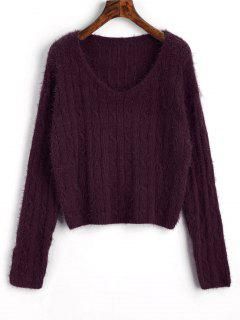 Textured Cropped Cable Knit Sweater - Purplish Red