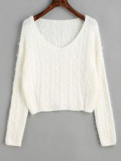 Suéter De Punto De Cable Recortada Textura - Blanco