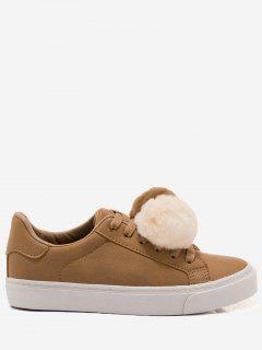 PU Leather Pompoms Casual Shoes - Yellow 36