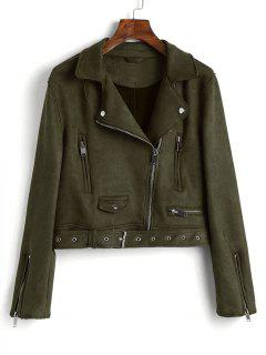 Zip Up Belted Faux Suede Jacket - Army Green L