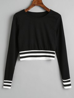 Ribbed Stripes Panel Cropped Sweatshirt - Black M