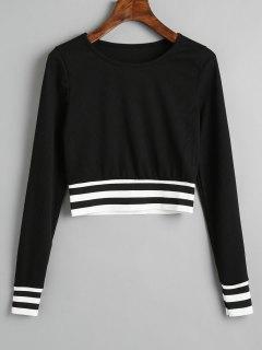 Ribbed Stripes Panel Cropped Sweatshirt - Black L