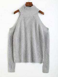 Pullover Cold Shoulder High Neck Sweater - Gray
