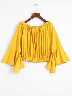 Asymmetrical Flare Sleeve Off Shoulder Blouse - Mustard M