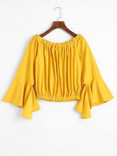 Asymmetrical Flare Sleeve Off Shoulder Blouse - Mustard S